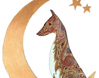 Tod, Celtic inspired fox, a limited edition A4 print