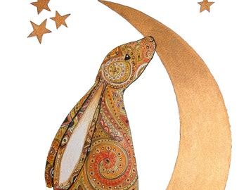 Moon Hare - celtic inspired limited edition print A4
