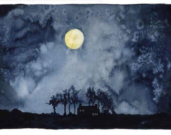 Midnight Moonlight limited edition hand embellished print no 4/50 A4