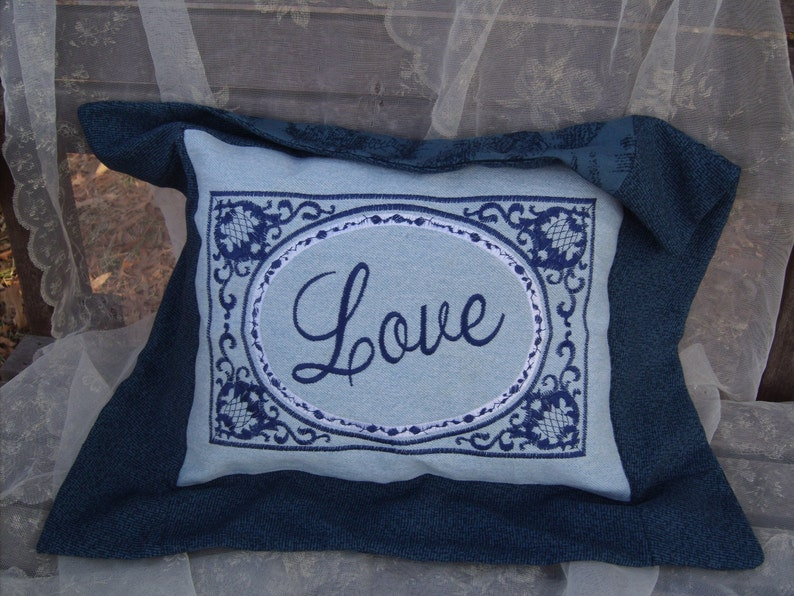 Embroidered pillow love series OOAK upcycled image 0