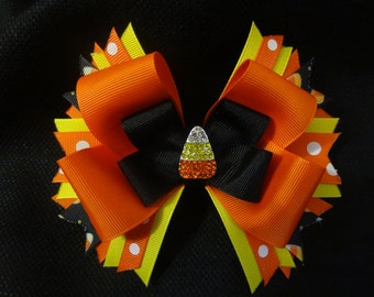 Candy Corn bow, large 5 inch hairbow