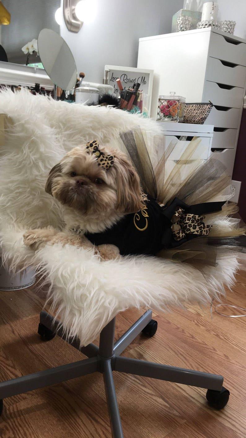 Leopard print dog tutu custom made up to a 12 inch waist