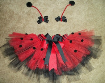 Ladybug tutu costume with antenna bows custom made Newborn-4t