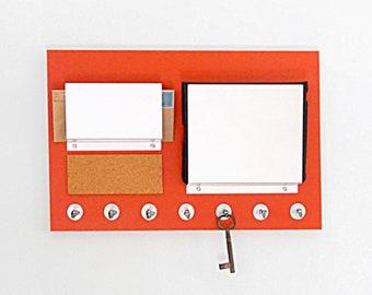 OFFICE WALL ORGANIZER: File Mail Holder Bulletin Cork Board Key Holder Multi Purpose Wall Mount Organization Center with Hooks