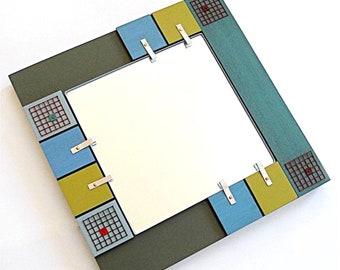 ART MIRROR: Masculine Decor Functional Useful Modern Decorative Wall Mount Geometric Square Design Green Tones