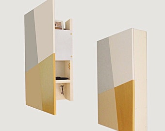 WALL CABINET ORGANIZER: Minimal Entry Key Hook Mail Sunglass Wallet Organization with Magnetic Whiteboard, Geometric Modern Home Decor