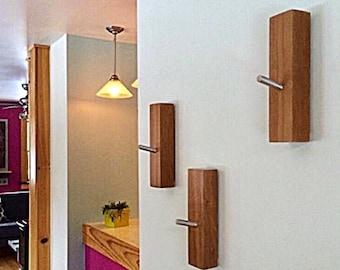 WOOD WALL HOOKS: Cherry Coat Wall Mount Entry Hook Coat Rack Organization Set of 3 Modern Minimal Home Decor