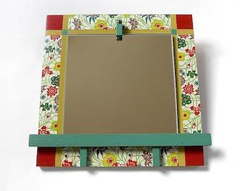 ART MIRROR: Decorative Wall Mount Floral Design Modern Useful Artful Colorful