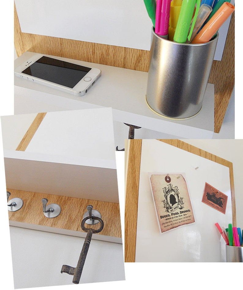 WOODEN MESSAGE CENTER  with Magnetic White Board Natural Wood with White accents for Home and Office Decor. Shelf and Key Hooks
