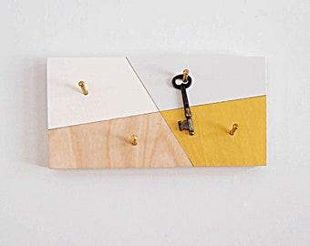 KEY RACK GEOMETRIC: Wall Mount Decorative Modern Key Hook Organizer Home Entry Keys Organization