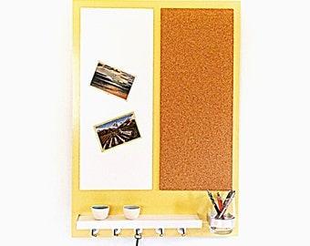 FAMILY MESSAGE CENTER: Cork Board Magnetic Whiteboard Shelf Pen Pencil Storage Flower Vase Key Hooks Multi Functional Organizer Organization
