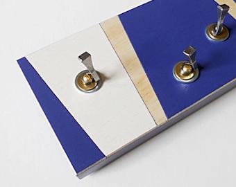 KEY HOOK GEOMETRIC: Wall Mount Modern Linear Summer Design Handmade Wooden Key Rack Entry Key Organizer Hooks