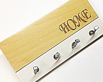 PERSONALIZED KEY HOOK: Wall Mount Modern Home Entry Key Rack Hooks Housewarming Gift Engraved Natural Wood with Color Accent