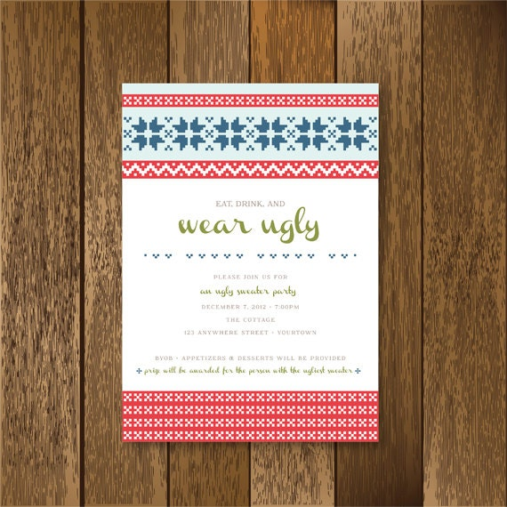 Items Similar To Ugly Nordic Sweater Party Invitation On Etsy