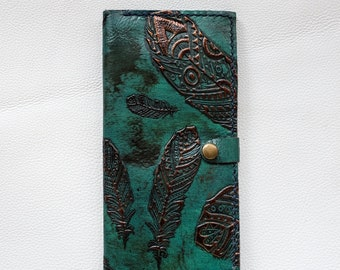 Handmade Leather Passport and Boarding pass Holder | full length | Turquoise and copper feathers
