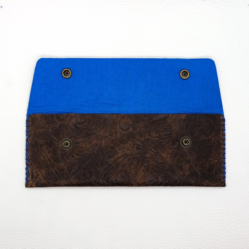 Handmade Leather pouch Electric blue interior Brown embossed exterior