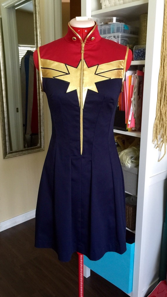 Captain Marvel Superhero Dress Costume Cosplaycustom Made Etsy The history of captain marvel's costumes. captain marvel superhero dress costume cosplay custom made