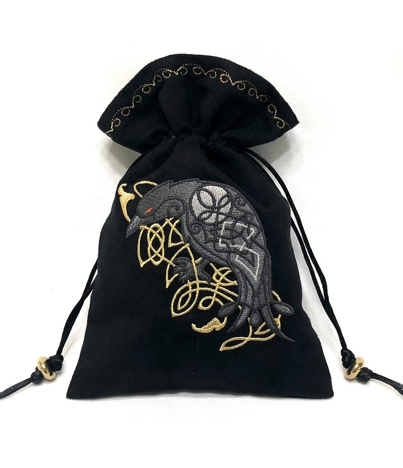 CELTIC RAVEN · Embroidered Drawstring Dice Bag · Rune Pouch · Tarot Card Bag made of faux suede · LARP Costume Accessory