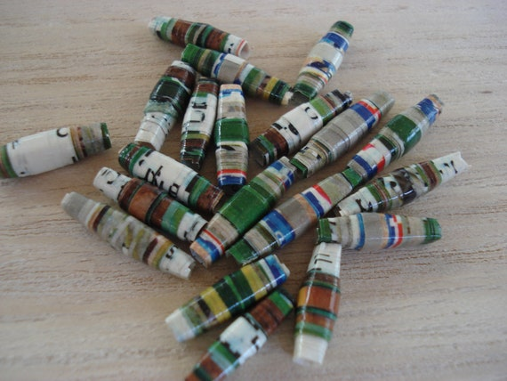 Band-Aid - 20 Handmade Paper Beads