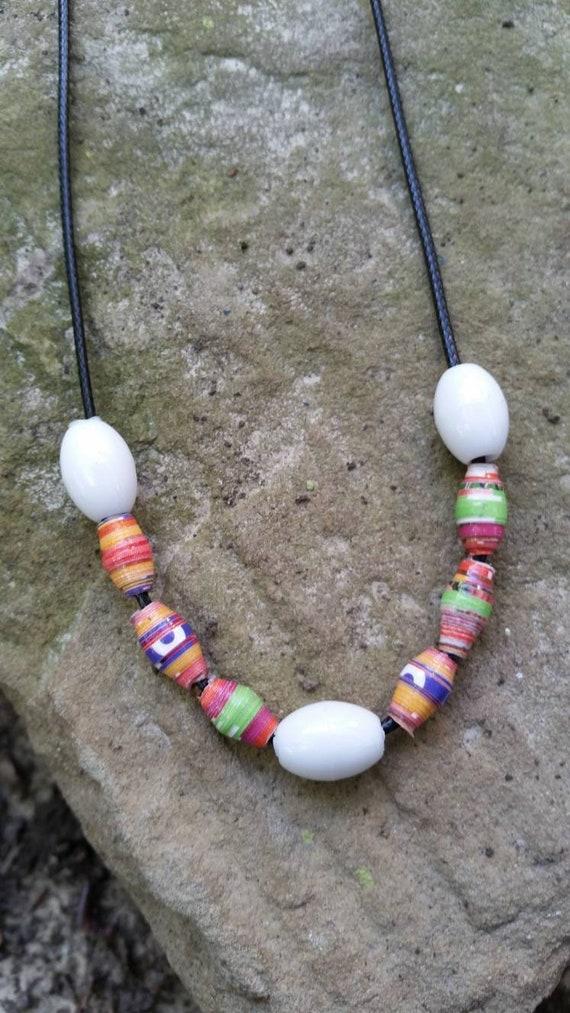 Handmade Paper Beaded Necklace