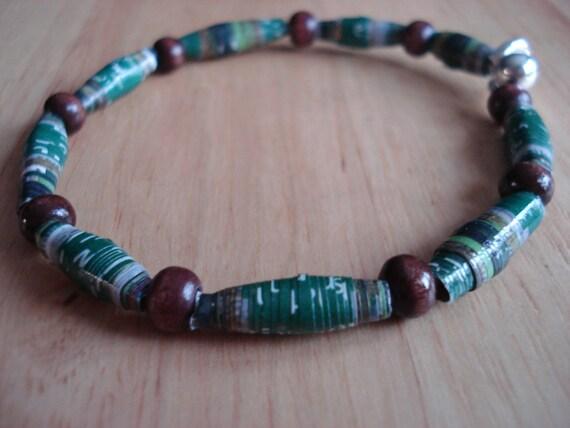 Handmade Paper Beads Bangle Bracelet