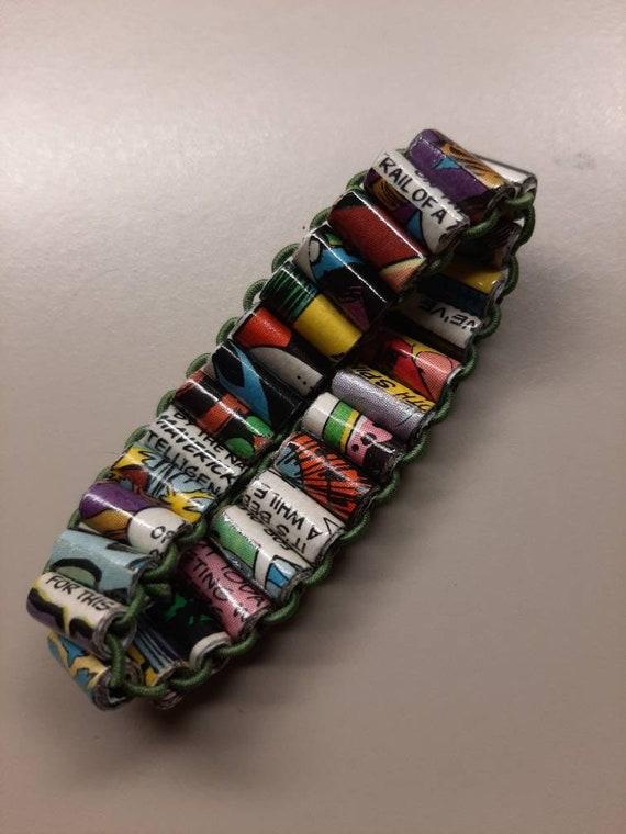 Handmade Paper Beads - Comic Book Bracelet