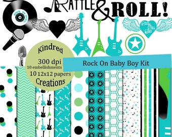 Rock On Baby Boy Digital Kit 300 dpi 12x12 10 papers 10 clipart embellishments