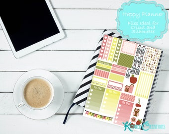Cutie Pie Farm Weekly Printable Planner Sticker Sheet for Mambi Happy Planner-Cut Files