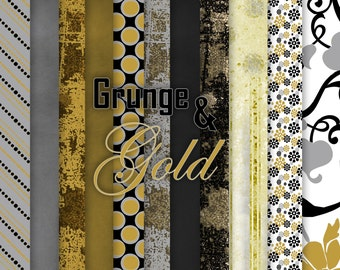 Grunge and Gold 12x12 Digital Paper Pack 300 dpi Printable small business use