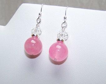 pink glass Swarovski beaded earrings