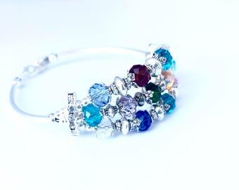Personalized Grandmother's silver Birthstone Bracelet with Custom Charm, Triple strand Birthstone Bracelet (B121)