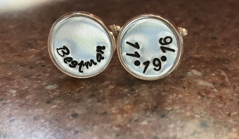 Cufflinks personalized suit accessory silver plated cufflinks Handstamped initial cufflinks