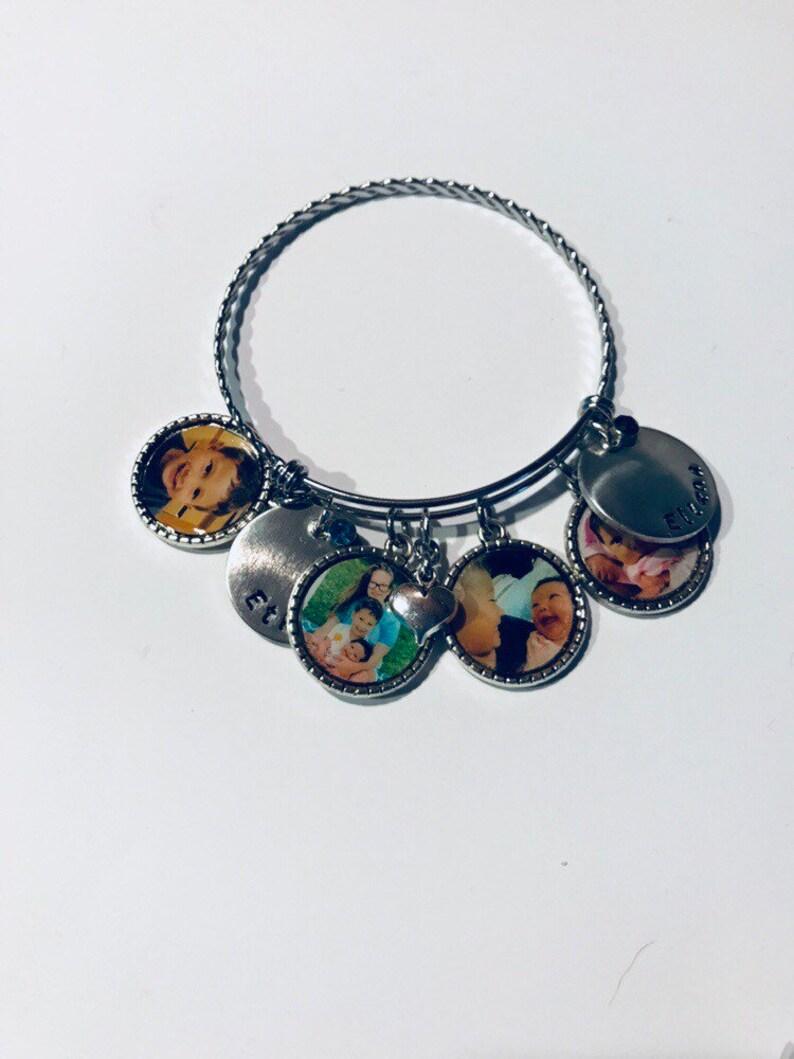 Handstamped Bangle Bracelet Sterling Disc Special Order Bangle Birthstone Bracelet