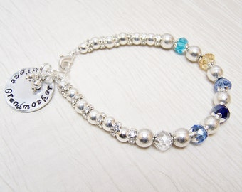 Mothers bracelet handstamped charm Grandmothers birthstone bracelet choose the saying
