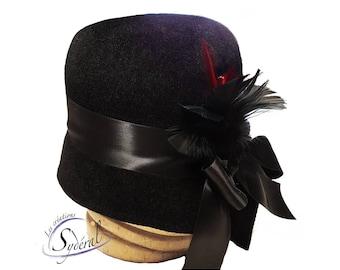 1920' style cloche hat  made in black velvet fur felt, cloche hat, felt hat, women felt hat, vintage hat, black felt hat