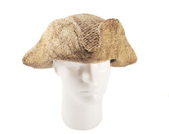Tricorn natural straw,pirate hat, peasant hat,pirate tricorn,tricorne,tricorne hat,historic hat,colonial hat,straw hat,larp hat,costum hat