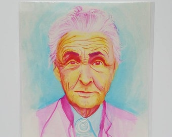Georgia O'Keeffe Watercolor Portrait Giclee Print