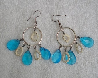 Turquoise and White Teardrop Earrings
