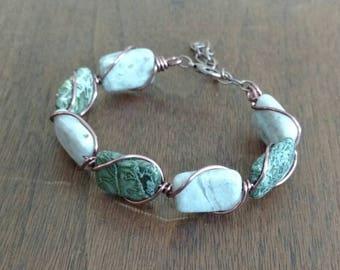 Jasper and Copper Cuff Bracelet (B1264)