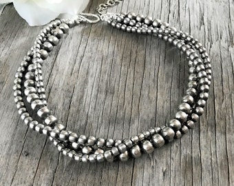 5, 6 and 8mm Navajo Pearls Necklace ~ 3 Strand ~ Choose Length