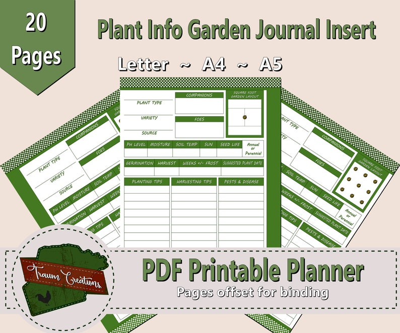 Printable Garden Planner Plant Profile Insert, INSTANT DOWNLOAD, Letter,  A4, A5