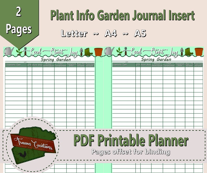 graphic regarding Printable Garden Journal referred to as Back garden Seed Commencing Log Printable Yard Magazine Webpage Fast Down load Spring Seeding Planting Routine