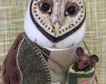 Barn owl Mixed Media sculpture