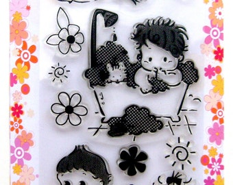 FLONZ Rural kids with cats //// Clear stamps pack 4x7