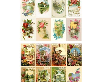 24 Sheets 6x6 Decoupage Paper Pack Craft and Scrapbooking Japanese Flowers FLONZ Vintage Styled Paper for Decoupage