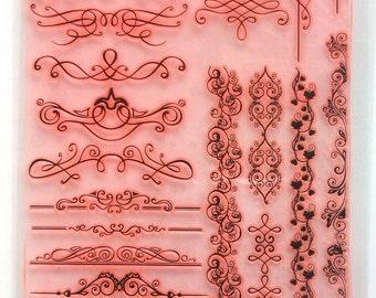 "Clear stamps large sheet (7""x10"") Damask Fluorish Baroque Borders Corners Laces Vintage FLONZ 403-121"
