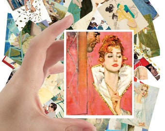 """Large Stickers (each sticker 2.5""""x3.5"""", pack 24 stickers) Romance Novels Vintage Magazine Art by Coby Whitmore FLONZ S-1168"""