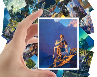 """Large Stickers (each sticker 2.5""""x3.5"""", pack 24 stickers) Vintage Amazing Landscapes & Beatiful People by Maxfield Parrish FLONZ S-1137"""