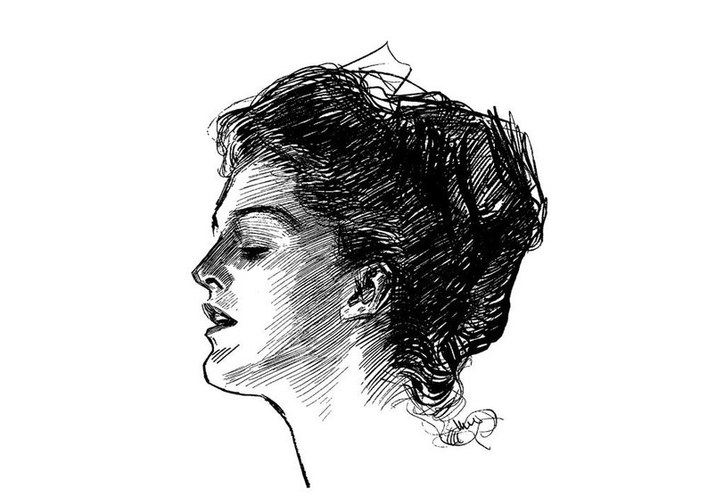 Gibson Girl Vintage Portraits Engraving Clear Stamps