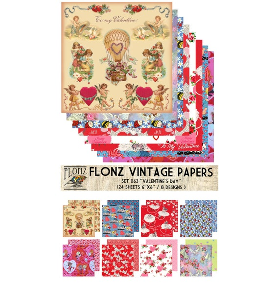 Persian Arabesque FLONZ Vintage Styled Paper for Decoupage and Craft 24 Sheets 6x6 Decoupage Paper Pack